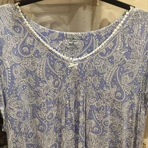 Plus Paisley Blue Short Nightgown